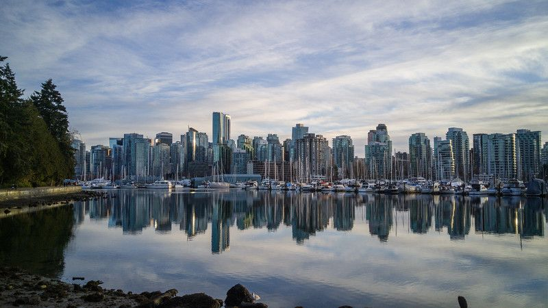 Vista de la ciudad al atardecer desde el parque Stanley | Las mejores vistas de Vancouver, BC