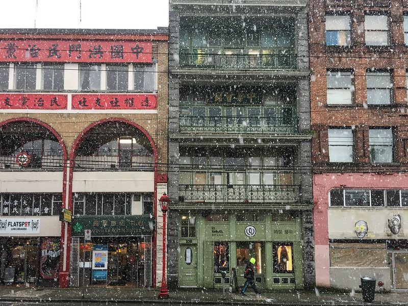Día de nieve en el barrio chino de Vancouver | Invierno en Vancouver