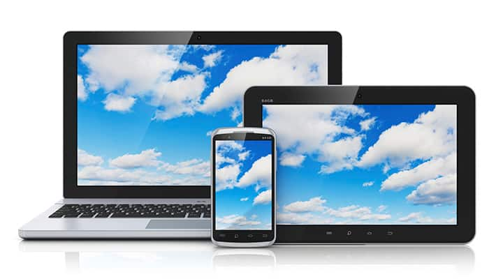 Laptop, tablet, and smartphone